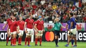 Referee Jaco Peyper issues Sebastien Vahaamahina with a red card against Wales