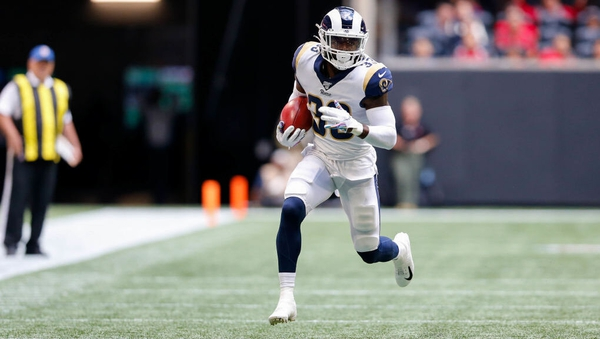 Los Angeles Rams defensive back Nick Scott in action against the Falcons