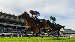 Sinawann (green silks) chased home Mogul in the Champions Juvenile Stakes at Leopardstown on Irish Champions Weekend last season