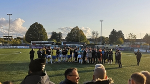 Haringey Borough and Yeovil Town players walked off the pitch at Coles Park together. Pic: @Joe_Husson