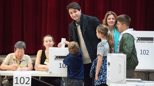 Justin Trudeau casting his vote with his family in Montreal