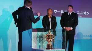Steve Hansen (R) and Eddie Jones (2nd from R) at the Rugby World Cup draw in 2017
