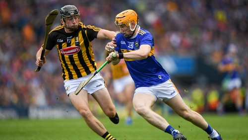 Donagh Maher of Tipperary in action against Conor Delaney of Kilkenny