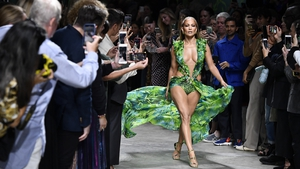 Keep on dancing: Jennifer Lopez works the runway at the Versace fashion show during the Milan Fashion Week. Photo: Victor Virgile/Gamma-Rapho via Getty Images