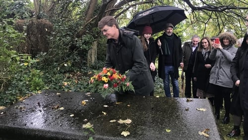 Dacre Stoker laid a wreath at the family tomb