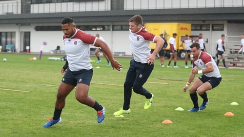 Manu Tuilagi (left), Owen Farrell (centre) and George Ford training ahead of the semi-final