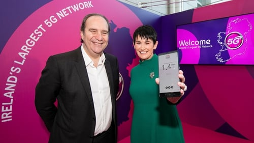 Eir owner Xavier Niel and Eir CEO Carolan Lennon at the launch of the company's 5G network