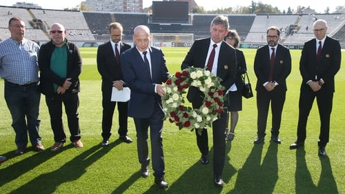 Ed Woodward, Bryan Robson, Mickey Thomas and members staff of Manchester United attend a ceremony to remember the victims of the Munich Air Disaster
