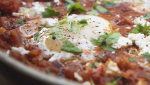 Shakshuka with Baharat and Aran Island Goats Cheese
