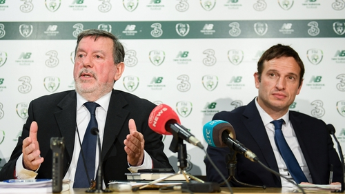 FAI president Donal Conway, left, and FAI general manager Noel Mooney at Abbotstown on Friday