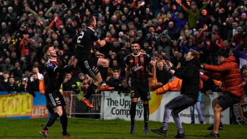 Derek Pender of Bohemians celebrates after scoring his side's second goal