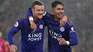 Hat-trick heroes Jamie Vardy and Ayoze Perez celebrate at St Mary's