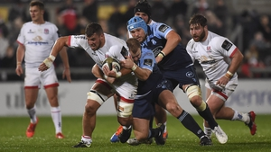 Scott Andrews of Cardiff Blues gets to grips with Ulster's Sean Reidy