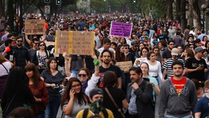 Protesters called for the resignation of Chilean President Sebastian Pinera