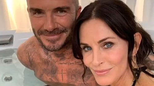 Courteney Cox and David Beckham hit the hot tub together