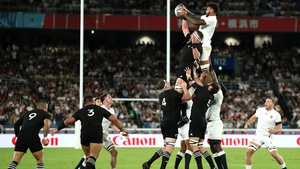 Courtney Lawes wins line-out ball for England in the first half