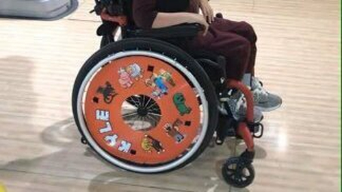 The wheelchair was specially made for Kyle Fitzgerald