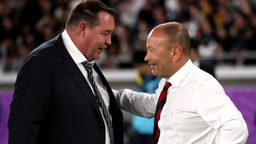 England coach Eddie Jones (R) and New Zealand coach Steve Hansen after the game