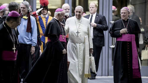 Pope Francis talks to bishops at the end of the three-week synod on the Pan-Amazon region