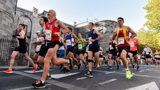 Sanctuary Runners prepare to take part in Dublin City Marathon