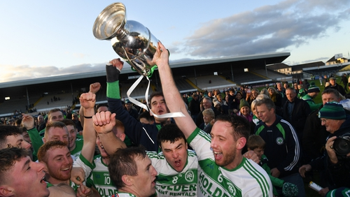 The Ballyhale Shamrocks captain Michael Fennelly and team-mates celebrate with the Tom Walsh cup