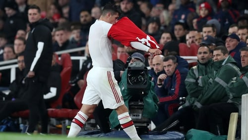 Granit Xhaka storms off down the tunnel following his substitution
