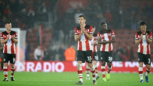 Dejected Southampton acknowledge their fans after the 9-0 loss to Leicester City