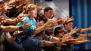 Sharon Sexton with the cast of Mamma Mia!