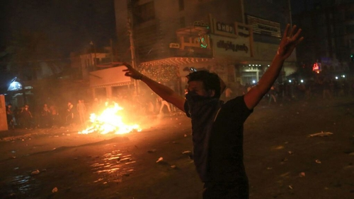 A protester on the streets in Kerbala