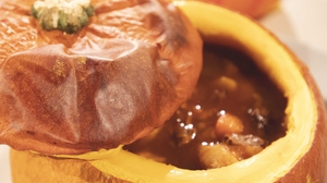Beef & Pumpkin Casserole served in a pumpkin!