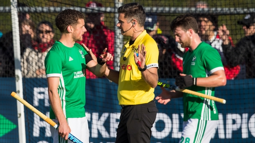 Ireland's Jonathan Bell discusses the video review with on-field referee