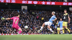 Sergio Aguero was on the double against Southampton at the Etihad Stadium