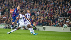 Lionel Messi scores his second goal against Real Valladolid