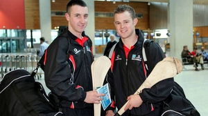 Eoin Larkin (L) and Tommy Walsh prior to departing on the 2006 All-Star Hurling tour