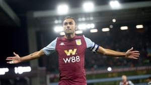 Ahmed Elmohamady celebrates his goal at Villa Park