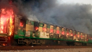 Television footage showed flames pouring out of the carriages