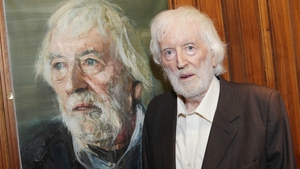 Tom MacIntyre pictured at the unveiling of his portrait by Colin Davidson at the Abbey Theatre (Pic: Brian McEvoy)