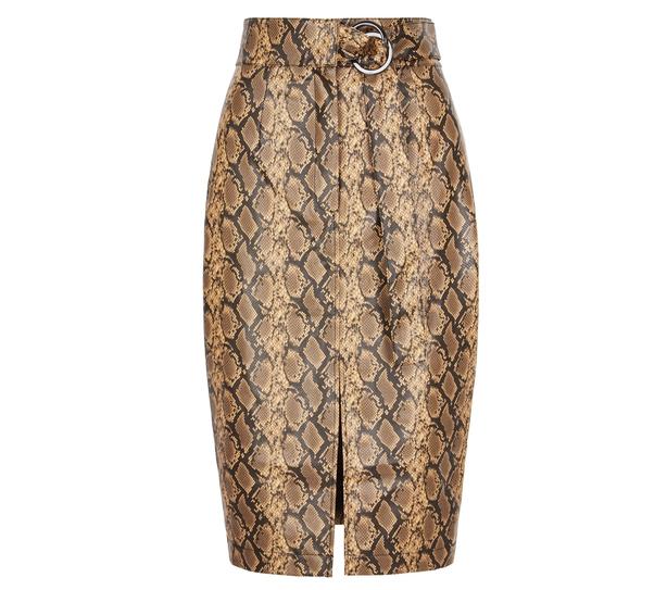 Very High Waist Buckle PU Midi Skirt, £40