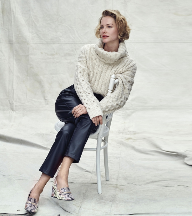 Dorothy Perkins Cream Cable Jumper; Black PU Belted Trousers; Snake Loafers