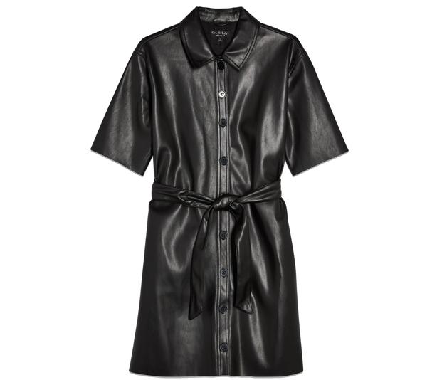 Miss Selfridge Black PU Shirt Dress