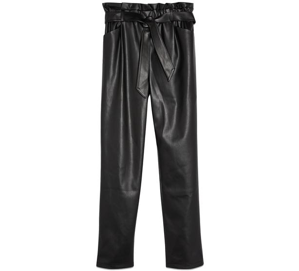 Miss Selfridge Black PU Paperbag Trousers