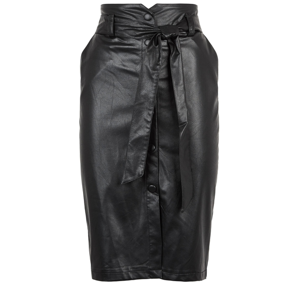 New Look Black Leather-Look High Waist Pencil Skirt