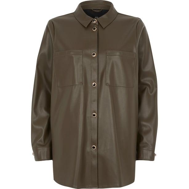 River Island Khaki Faux Leather Jacket