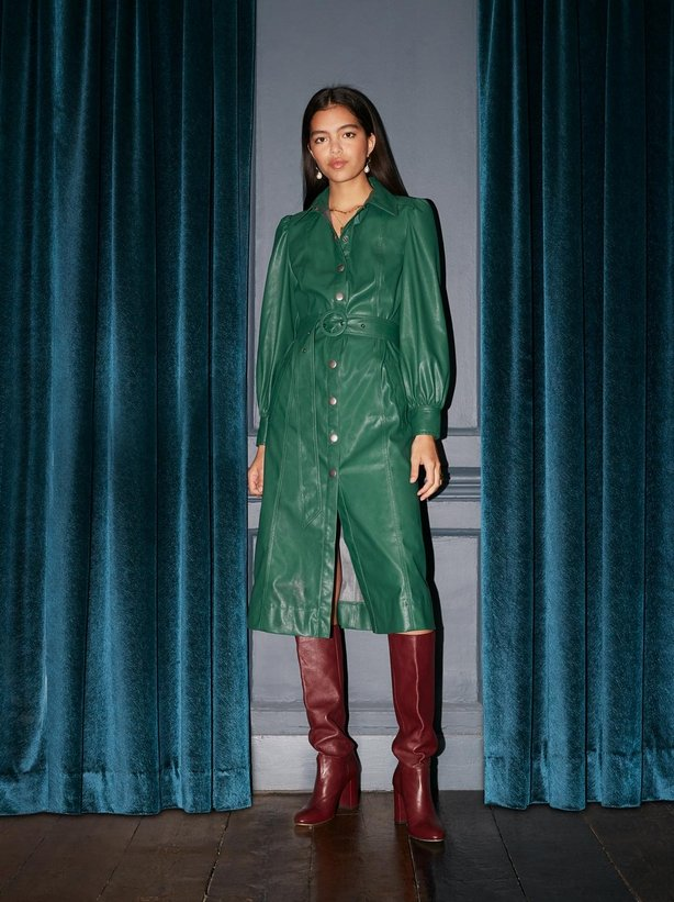 Kitri Studio Elena Green Faux Leather Shirt Dress
