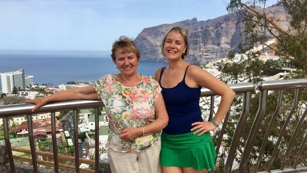 My mum and I at the cliffs of Los Gigantes