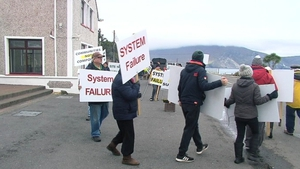 The 'vigil' outside the Achill Head Hotel over emergency accommodation for asylum seekers (file pic)