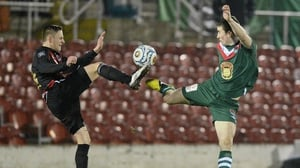 Cork City's Gearoid Morrissey and Matthew Snoddy of Crusaders battle for possession during a Setanta Cup clash in 2013