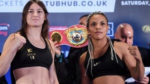 Katie Taylor and Christina Linardatou after weighing in