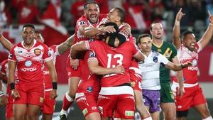 Tonga celebrate a famous win over Australia