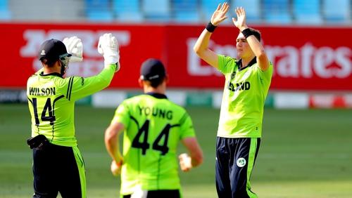 Gareth Delany celebrates his wicket
